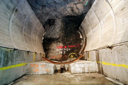Looking down the short stretch of current tunnel- digging at 100ft per day, the machine should reach the 63rd Street end by next year, at which point it will return to this spot to dig the Northbound tunnel.