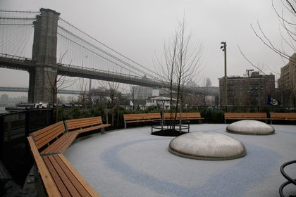 The old Brooklyn Bridge Park metal orbs, RIP.