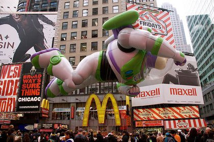 Buzz Lightyear passes through Times Square