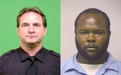 Officer Figoski, left, and Lamont Pride, right