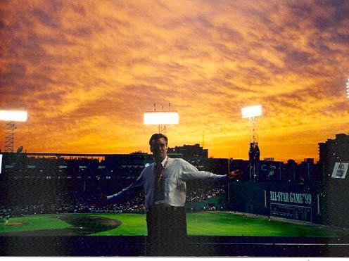 A 1999 photograph of Olbermann at Fenway Park during the All-Star Game, via his Baseball Nerd blog