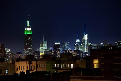 The Empire State Building is lit up for the Jets