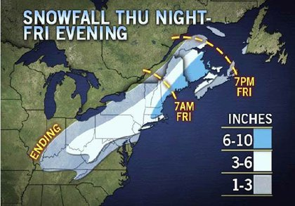 The Accuweather snow map