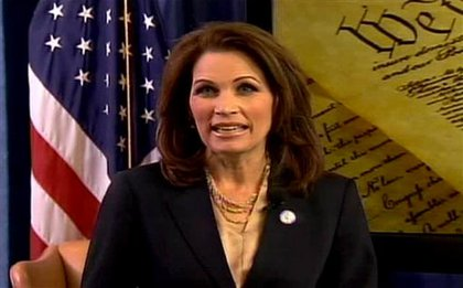 Rep. Michelle Bachmann (R-Minn) gave the Tea Party response to the State of the Union, and ended up looking not at the TV camera broadcasting her words but the Tea Party Express website's camera, causing Keith Olbermann  to freak out on Twitter.