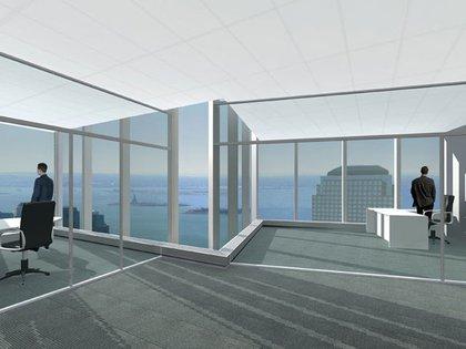 A rendering inside a 4 World Trade Center floor—it's very Mad Men!