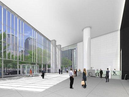 A rendering inside 4 World Trade Center's lobby