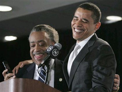Rev. Al Sharpton and then-Senator Obama in 2007