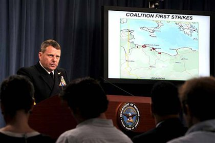 Vice Adm. William E. Gortney, Director of the Joint Staff, gives a news conference at the Pentagon
