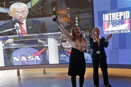 Intrepid Sea, Air and Space Museum president Susan Marenoff cheers after learning it'll get the Enterprise