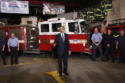 President Obama speaks to firefighters at Engine 54 in Midtown