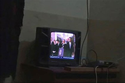 From one of the videos of bin Laden watching TV—President Obama is on the TV