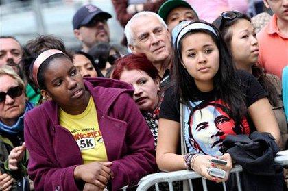 Crowds near the WTC site