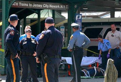 Cops around the Hoboken PATH station