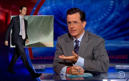 Colbert pointed out Weiner's thin frame and apparently impressive package.