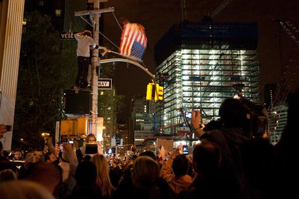 Crowds gather at Ground Zero after hearing that Osama bin Laden has been killed.