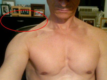 Weiner's topless photograph appears to be taken in his Forest Hills home
