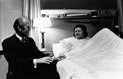 President Ford visiting First Lady Ford in the hospital in 1974