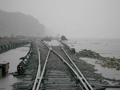The Hudson River encroaches on Metro-North Railroad's Hudson Line at Croton-Harmon.