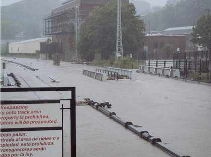 Floodwaters covered the tracks of Metro-North Railroad's Hudson Line at Ossining.