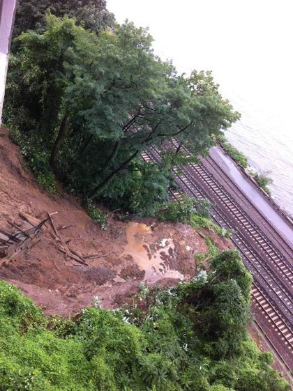 A mudslide covered the tracks on Metro-North Railroad's Hudson Line at Spuyten Duyvil