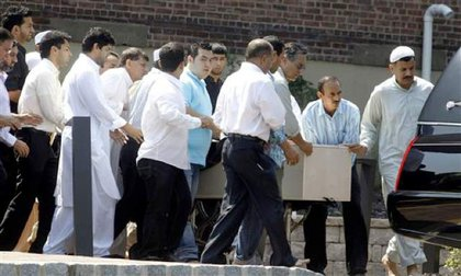 Noorani's body is carried from the Jama-e-Masjid Islamic Center in Boonton, NJ