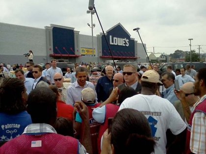 Obama at a Lowe's where hurricane relief was set up