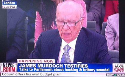 Rupert Murdoch interrupts his son's testimony