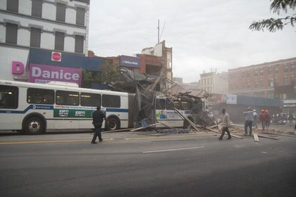 The collapsed scaffolding on a MTA bus on West 125th Street.