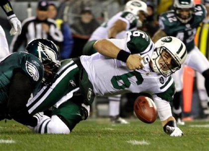 Sanchez during one of his many sacks in the Jets' game against Philly.