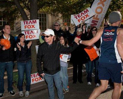 Michael J. Fox cheers runners running for Team Fox