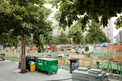 Here we can see some of the 180 swamp oak trees that have already been planted on the plaza.  Eventually the trees will reach 60' high.  Fifty more will be planted before the 10th anniversary.  By September 11th this year, the entire Memorial Plaza and both pools will be complete- only the northeast area by 2 and 3 WTC and along Greenwich will still be under construction.