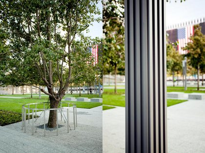 On the left, the survivor tree.  On the right, the base of a lamp-post evokes the original towers.