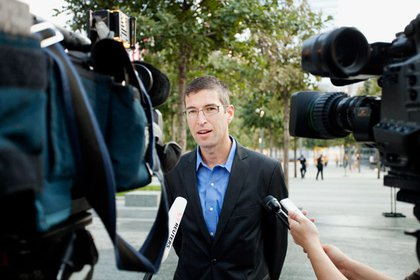 Architect Michael Arad was on hand to discuss the memorial, which he designed.