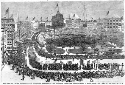 An illustration of the 1886 Workingman's Parade