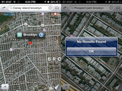 """A search for """"Coney Island Brooklyn"""" takes you to the center of Brooklyn though a search for """"Coney Island"""" or """"Coney Island New York"""" does work correctly. And don't think about misspelling anything!"""