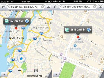 A Brooklyn address shows up in Manhattan, a Manhattan address shows up in the wrong place.