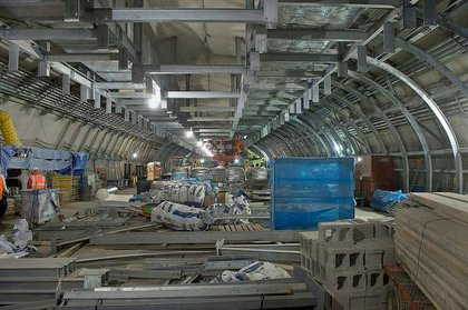 This is a view of the future mezzanine of the new station at 34th Street and Eleventh Avenue in west Midtown Manhattan.