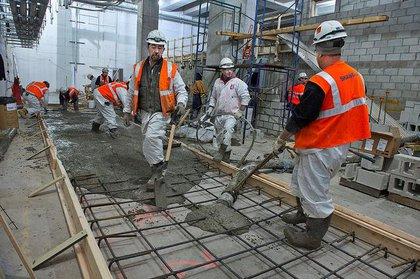 Pouring the concrete.