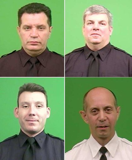 Clockwise from upper left: Detective Kenneth Ayala; Detective Michael Keenan; Captain Al Pizzano; and Police Officer Matthew Granahan