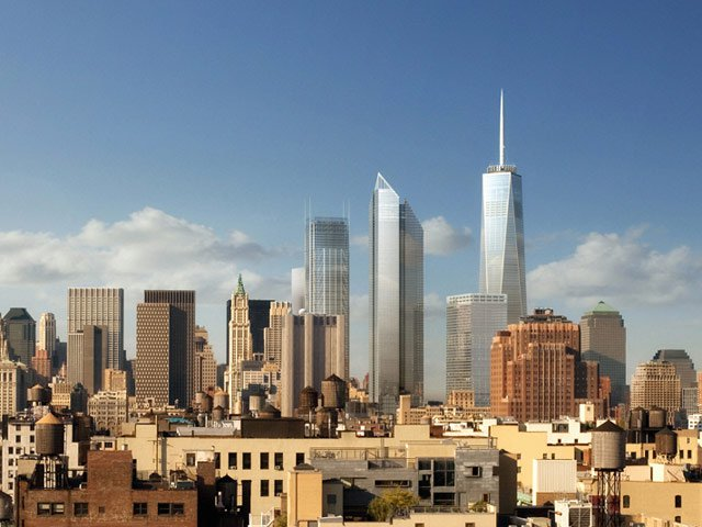 A rendering of the World Trade Center complex—1 WTC is at the far right