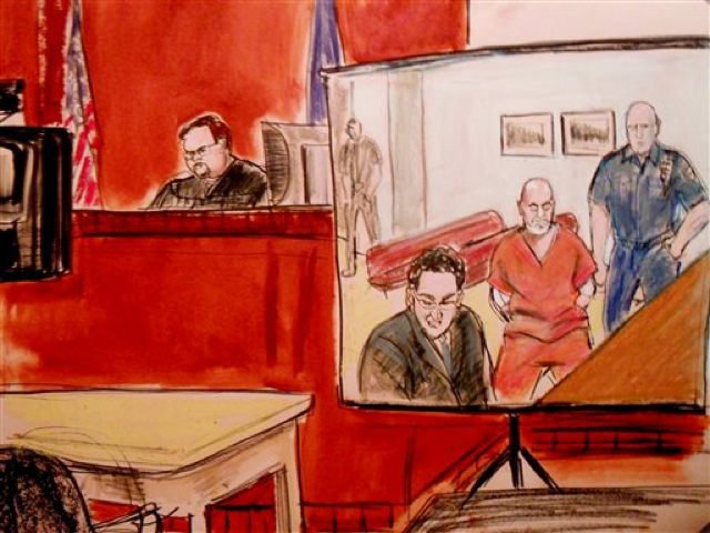 Courtroom sketch of the arraignment of Pedro Hernadez, at Bellevue