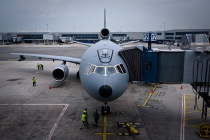 The KC-10 parked at Gate 12 at the American Airlines terminal at JFK.