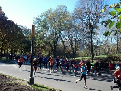 Runners in Central Park this morning
