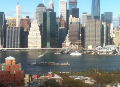 Fuel barge going up the East River!!