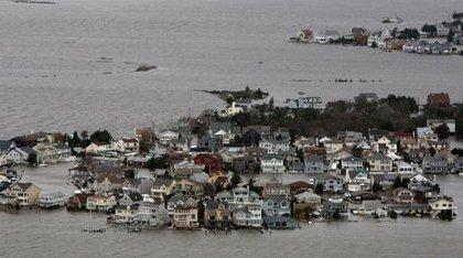 Hurricane Sandy damage in on the bay side of Seaside, N.J.