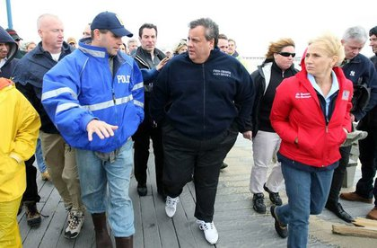 Governor Chris Christie and Lt. Governor Kim Guandagno meet with Mayor Matt Doherty to survey the damage caused by Hurricane Sandy in Belmar, N.J.