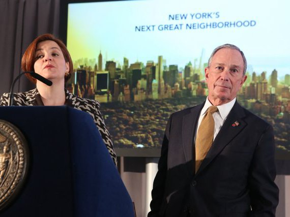 Photograph of Quinn and Bloomberg today from the NYC Mayor's Office