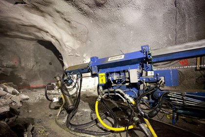 Here's the machine that sprays compressed concrete on to the walls to form a base for the waterproofing.