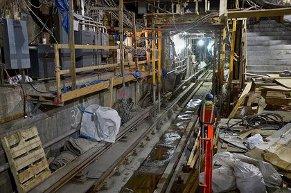 This photo shows work underway at station at 63rd Street and Lexington Avenue, which is being expanded to accommodate Second Avenue Subway trains.