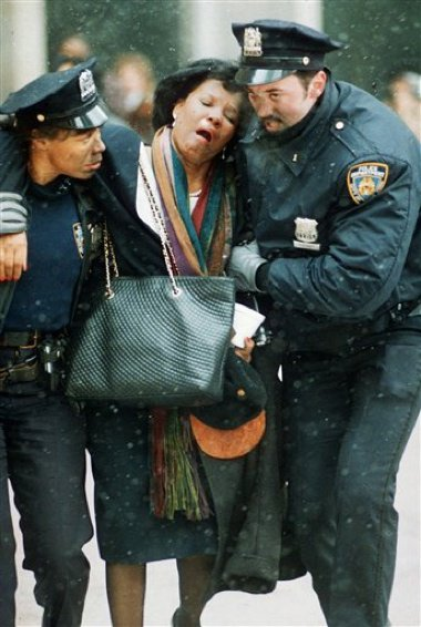 Helping one of the victims of the 1993 bombing